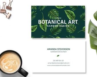 Tropical Carte Botanique De Visite Design Moderne Branding Personnelle Dappel Conception