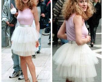 carrie bradshaw tutu white skirt tropical wedding event skirt summer bridal shower womens custom skirt with tulle circle skirt star outfit