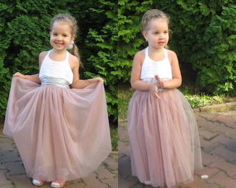 15f94eaf77 Beige girls tulle tutu skirt for birthday outfit, third anniversary, infant  wedding look