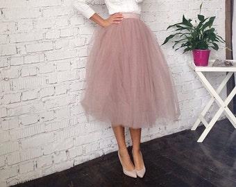 efe67f4ee7 Dusty rose tulle tutu skirt tea length for bridal separates