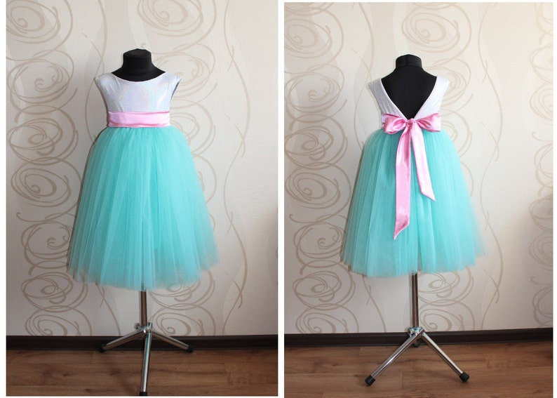 IVORY//TURQUOISE WEDDING DANCE GOWN FLOWER GIRL DRESS 12M-18M 2 3//4 6//6X 8 10 12