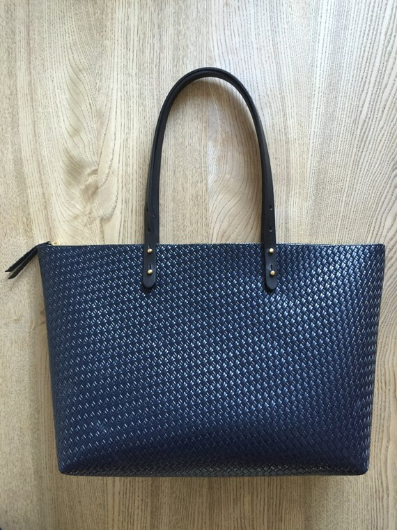 9fb5d03ea Leather Tote Embossed Leather Bag Navy leather tote Navy   Etsy