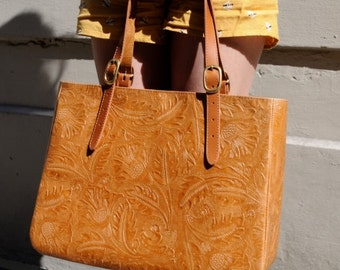 Charlotte Leather Tote, Embossed Leather Bag, Tan leather tote, Tan Leather Purse