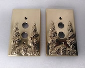 Vintage Heavy Brass Cable Phone Jack Covers