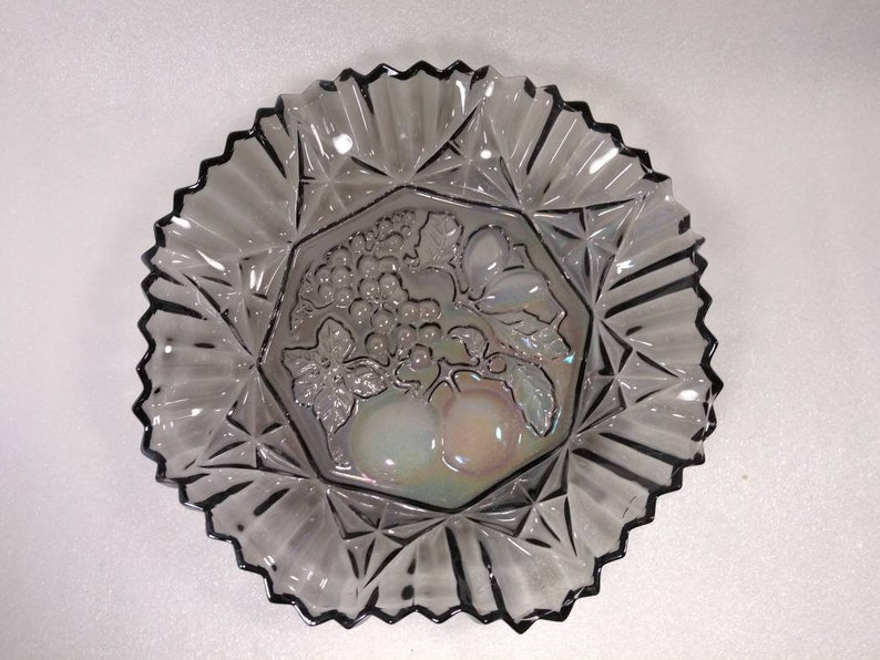 Vintage Iridescent Smokey Blue Carnival Glass fruit bowl