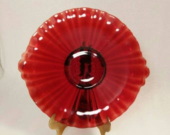 Vintage Ruby Red Glass Serving Dish