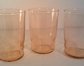Set of 3 Vintage Peachy Pink Juice Glasses
