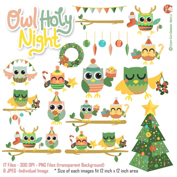 Christmas Day Clipart.Digital Cute Happy Joyful Owl Christmas Day Theme Clipart Set In Jpeg And Png Files For Scrapbook Album Greetings Card And Stickers Planner