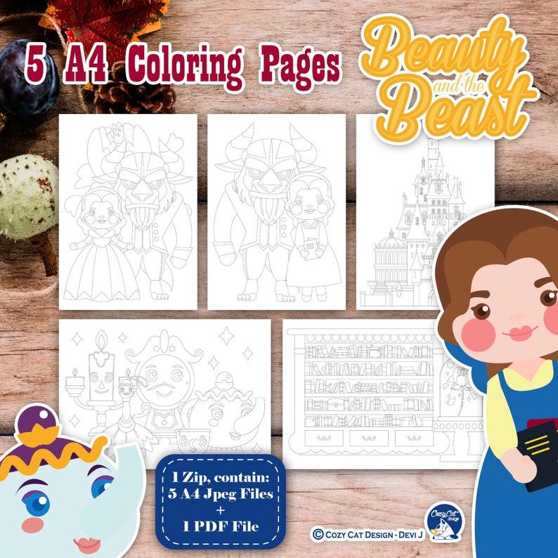 Coloriage Fee Pdf.Conte De Fee Coloriage Pages Princesse Clipart La Beaute Et Etsy