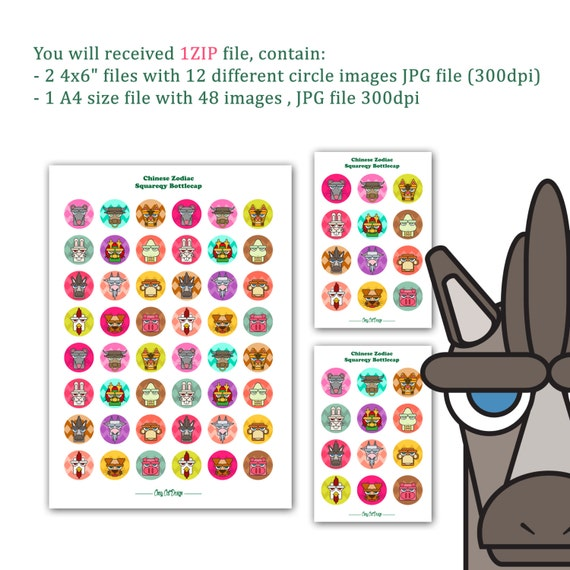 picture about Chinese Zodiac Printable referred to as Printable Bottlecap Quirly Amusing Chinese Zodiac, Quick Obtain Inside Jpeg Data files for Sbook, greetings card, Planner stickers and extra