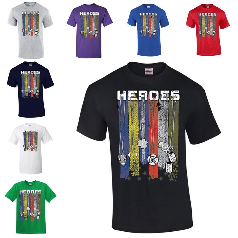 411066a29 Free Shipping Heroes T-Shirt Firefighter Police Military 911   Etsy