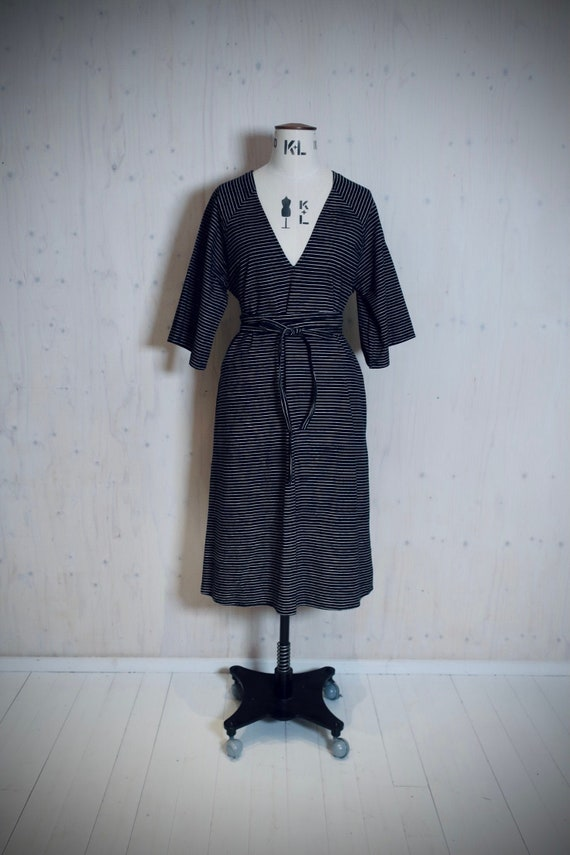 VUOKKO vintage dress, black, white stripes