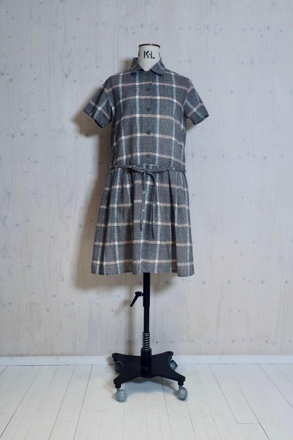 MARIMEKKO vintage dress, brown, beige, grey checks