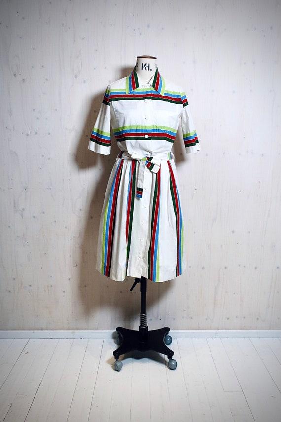 MARIMEKKO KATI vintage dress, white, green, red st