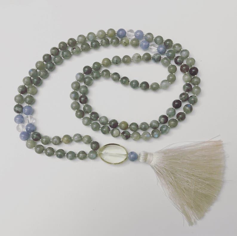 Blue Quartz Labradorite Crystal Quartz and Citrine Mala Necklace