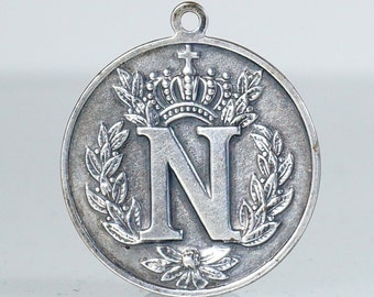Antique French Silver Napoleon Empereur Medal Pendant