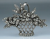 SOLD - reserved for Sandra - Antique Art Deco Silver Marcasite Brooch Pin