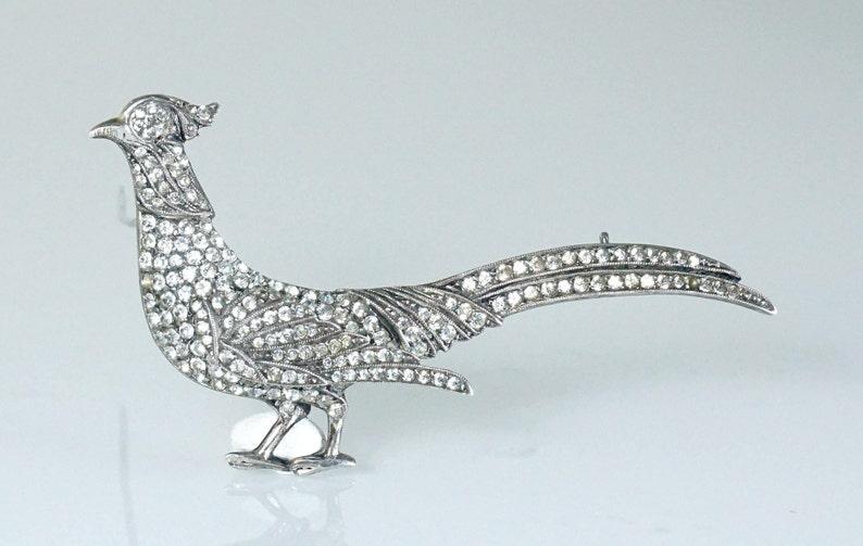Art Deco Belgian Silver Pheasant Brooch Pin