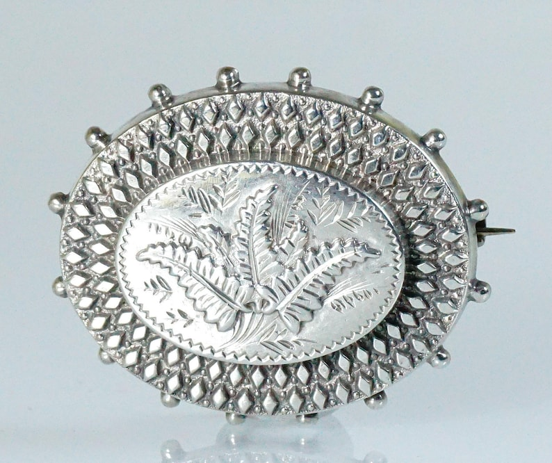 Antique French Victorian Silver Brooch Pin