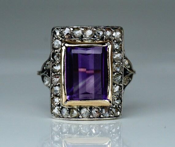 Antique Victorian Diamond 18 Carat Gold Amethyst R