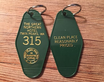 """Gold printed TWIN PEAKS Inspired """"Great Nothern Hotel"""" keychain, key fob"""