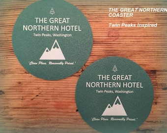 NEW!  Coasters! The Great Northern Hotel Drink Coaster - TWIN PEAKS inspired - Get 4 of them!