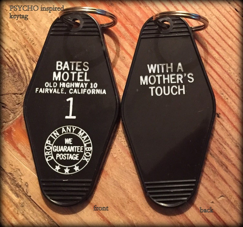 On SALE! PSYCHO BATES motel room 1 keychain, key fob horror Movie Prop  (white lettering)