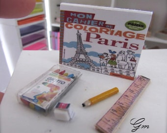 Stationery color kit - scale 1/12- dollhouse miniatures