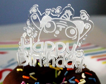 Happy Birthday - Pug Acrylic Cake Topper