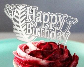Happy Birthday - Ferns Acrylic Cake Topper