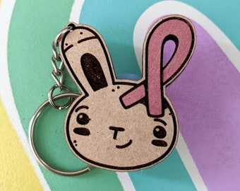Breast Cancer Ribbon Bunny Key Chain