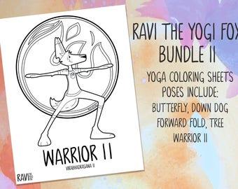 Ravi the Yogi Fox - coloring sheets, bundle II