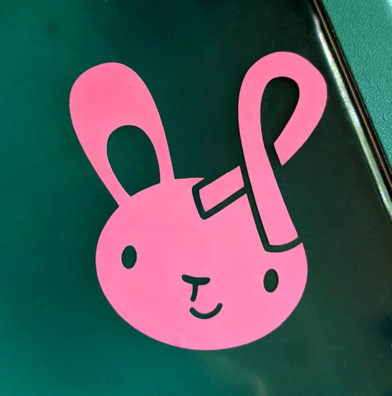Breast Cancer Ribbon Bunny Vinyl Sticker image 1