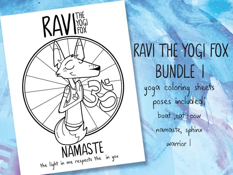 Ravi the Yogi Fox  coloring sheets bundle I image 0
