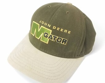 John Deere M Gator Leather Strap Strapback Dad Hat Vintage 90s FREE Shipping Made In USA Tractor Lawn Equipment