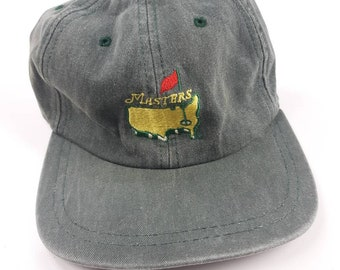93767d67686a9b Masters American Needle Strapback Dad Hat Vintage 90s Made In USA Plain  Logo Golf Augusta National Tournament Green Adjustable