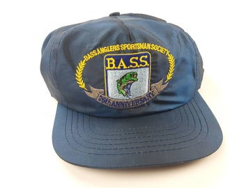 ad49fd5d56398c BASS Anglers Sportsman Society Nylon Adjustable Baseball Snapback Hat Cap  Vintage 90s FREE Shipping Fishing