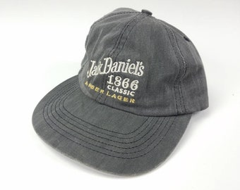 Jack Daniels Amber Lager Whiskey Bourbon Liquor Leather Strapback Hat  Vintage 90s Made In USA FREE Shipping Dad Hat 582ce7e1d8e