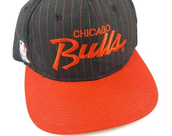 7ce58d2205f Chicago Bulls Sports Specialties Script Snapback Adjustable Baseball Hat Cap  Black Pinstripe Vintage 90s FREE Shipping