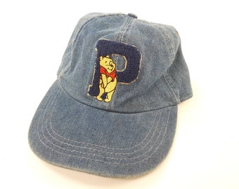 f8853e874db Winnie The Pooh Stretch Back Denim Baseball Hat Cap Vintage 90s FREE  Shipping Piglet Christopher Robin Tigger