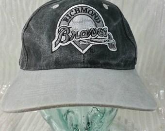 Vintage 90s Richmond Braves Black and Gray Stonewash Snapback Hat FREE  Shipping bcbd1b16da94