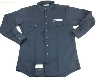 1a05e861634f Unitog United States Postal Service Long Sleeve Navy Blue Uniform Shirt  Union Made In USA Vintage 80s 90s FREE Shipping