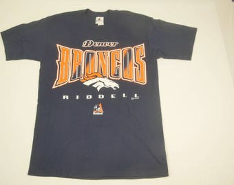 f26bff494 1997 Denver Broncos Riddell Large Tee T Shirt Vintage 90s FREE Shipping  Made In USA NFL Football
