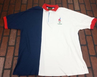 ffe3c5e82b88 1996 Hanes Olympic Games Collection XL Multicolored Colorblock Polo Shirt  Vintage 90s Color Block Multi Color Summer Olympics