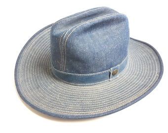 a5bf425d93f511 Levis Blue Denim Cowboy Hat Made In USA Size 7 5/8 Vintage 80s 90s Jean