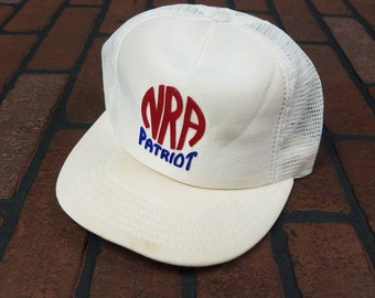 8b2d879b NRA Patriot Exclusive Member Trucker Snapback Hat Vintage 80s 90s Made In  USA 2nd Amendment Gun Rights Laws FREE Shipping Rifle Association