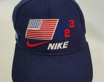 e8324a7c226 Nike Just Do It Swoosh Snapback Hat Michael Jordan Vintage 90s Free  Shipping Basketball Air Jordan 23 Rare