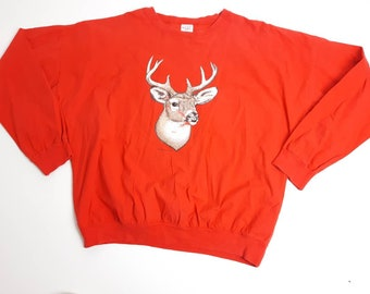 31d32128e2 1988 Blue Moon Deer Quitman Long Sleeve Single Stitch Pullover T Shirt Made  In USA Vintage 80s FREE Shipping