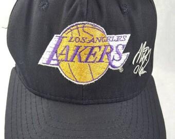 Free Shipping Los Angeles Lakers LA Magic Johnson 32 AJD Snapback Hat  Vintage 90s NBA Basketball Made in Usa 48348969463