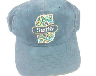 hot sale online 36826 106a0 Seattle Mariners Paisley Logo MLB Adjustable Snapback Baseball Cap Hat  Vintage 90s Free Shipping